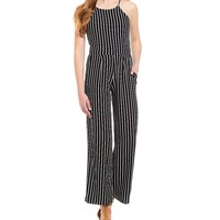 Moa Moa Striped Halter-Neck Culotte Jumpsuit | Dillards