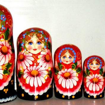 "Matryoshka 7 pcs 7,5"" 20cm Nesting Doll, Russian doll, Russian matryoshka doll, Nested doll, Matrioshka, – Camomele holiday birthday gift"