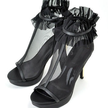 Black Lace New Summer Lace Up High Heels = 4777245828