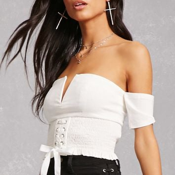Lace-Up Off-the-Shoulder Top