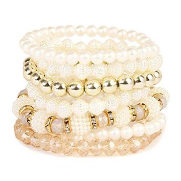 MYS Collection Multi Strand Pearl Stackable Bracelets  Layering Bead Statement Stretch Bangles