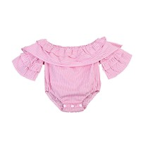 Newborn Infant Baby Girl Clothes Pink Striped Off Shoulder Romper Jumpsuit  Outfit Playsuit Clothes Baby Girls