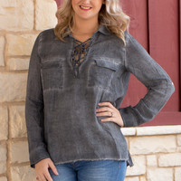 Out In Style Faded Tunic With Roll Tab Sleeves ~ Charcoal ~ Sizes 4-10
