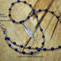 SOA Inspired Feather Necklace - Silver and Lapis - Sterling Silver Necklace - Lapis Necklace - Gift For Her - Sons Of Anarchy Inspired
