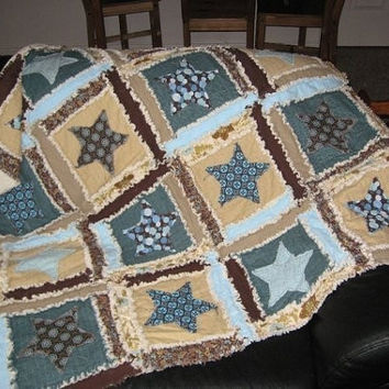 Rag Quilt PATTERN Star Applique Rag Quilt by avisiontoremember