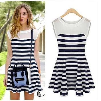 Pullover Striped Women's Fashion Stripes Summer Round-neck Pleated Classics One Piece Dress = 4806604740