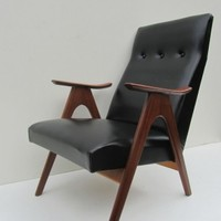 Mid Century Teak and Black Skai Lounge Chair