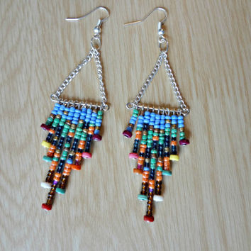 Colorful Seed Beaded Long Dangle Earrings by EudaimoniaJewelry