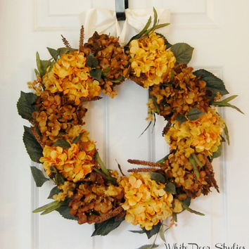Gold and Brown Hydrangea Wreath, Front Door Wreath, Fall Wreath, Autumn Wreath, Housewarming Gift