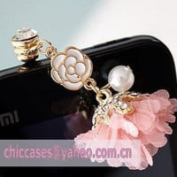 Pink Flower Anti Dust Plug for iphone 544s decor by blingcase