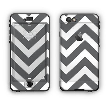 The Sharp Gray & White Chevron Pattern Apple iPhone 6 Plus LifeProof Nuud Case Skin Set