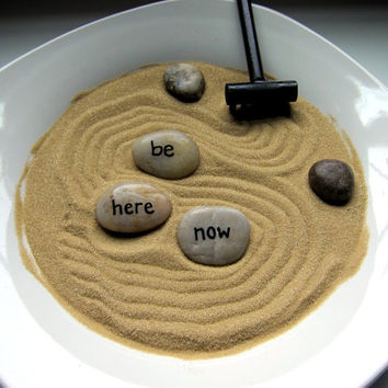 Be Here Now Painted Stone Zen Garden - Counselor Meditation Stress Reliever - Zen Office Accessory Decor Buddhist Decor - Psychologist Gift