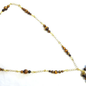 Tigers Eye Necklace with Gold Wirework Detail and Chain, hand crafted, hand forged, one off, Plus Size