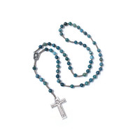 Catholic Rosary, Blue apatite rosary, Silver plated Cross and God mother, Silk cord Rosary, in Handmade