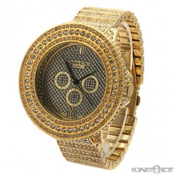 Gold CZ Large Face Urban Watch | Hip Hop Jewelry | Urban Style Watches