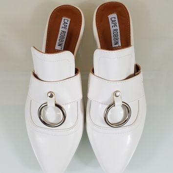 Pointy Toe White Flats Mules Clog Bull Ring Slipper Shoes