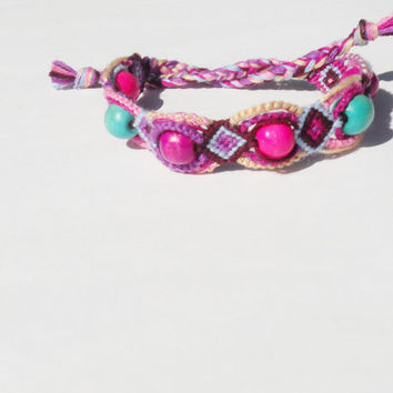 Friendship Bracelet - Boho Bracelet With Colorful Wooden Beads - Handmade