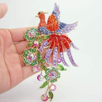 "5.79"" Classic Ornate Gilded Peacock Bird Animal Decorated Brooch Pendant Colorful Crystal Rhinestones"