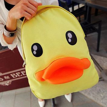Cute Yellow Duck Backpack Canvas Bag