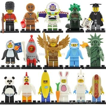 Gingerbread Chicken Unicorn Figure Panda Man Statue Of Liberty Golden Saint Medusa Rocket Boy Building Blocks Bricks Toys