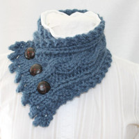 Cable Knit Cowl, Neck Warmer, Knitted Cowl, Denim Blue Cowl, Fishermans Wife Cowl