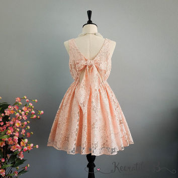 A Party V Lolita Backless Dress Luxury Peach 3D Lace Bow Back Dress Prom Party Cocktail Dress Bow Lace Wedding Bridesmaid Dresses XS-XL