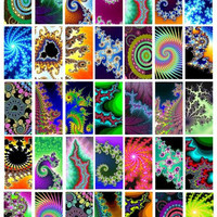 """rainbow abstract fractals digital download 1"""" x 2"""" Printable Images for Pendants Scrapbooking Digital Collage Sheet - Instant Download"""