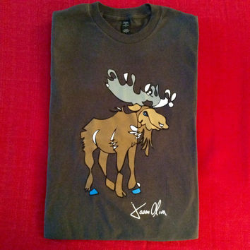 MOOSE Silk Screened Tee Shirt by Jason Oliva Art Painting Print Gift Animal Wildlife