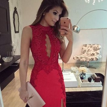 Red Lace Strapless Short Homecoming Dress, Homecoming Dress 2017
