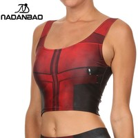 NADANBAO NEW ARRIVAL Crop Top Comic Pattern Women Camis Deadpool Print tank tops Colorful sleeveless Tee Vest