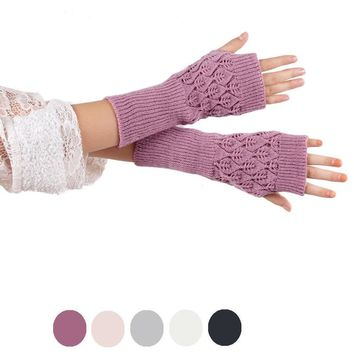 Fashion Women Men's Gloves Arm Warmer Long Fingerless Knitted Mitten Winter