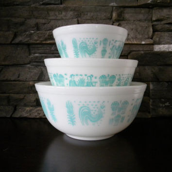 Pyrex, Butterprint (Amish) Turquoise Nesting Mixing Bowls, Set of 3, 401, 402, 403-Turquoise Pattern on White Background- Introduced in 1957