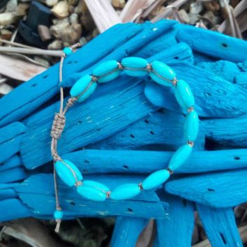 Boho Style Bracelet With Leather And Double Row of Turquoise Beads.