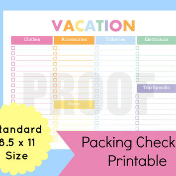 Packing List Template, Travel Planner, Vacation Packing Checklist Template, Vacation Packing List, Planner Pages, Travel Checklist