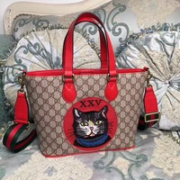 GUCCI WOMEN'S LEATHER EMBROIDERY BOSCO TOTE BAG