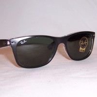 New RAY BAN Sunglasses WAYFARER 2132 6052 BLACK/GREEN 58mm AUTHENTIC