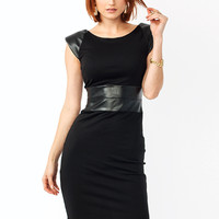 Faux-Real-Contrast-Bodycon-Dress BLACK - GoJane.com