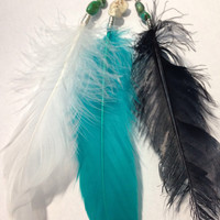 Feather. Turquoise. Howlite. Dreamcatcher. Deerskin necklace. Bohemian.