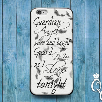 iPhone 4 4s 5 5s 5c 6 6s plus + iPod Touch 4th 5th 6th Gen Cute Quote Phone Cover White Black Adorable Guardian Angel Case Girly Girl Cool