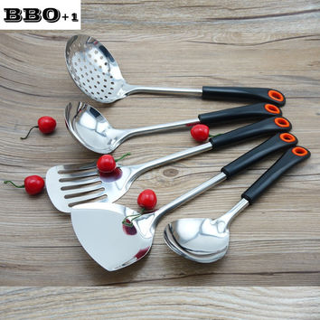 New 1 set Stainless steel Kitchen Utensils Cookware spatula Cooking Tool Set Colander Spoon Slotted Spatula Tools Kitchenware