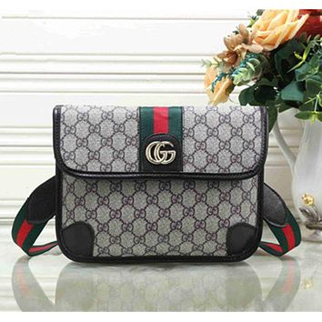 GUCCI Stylish Ladies Shopping Bag Metal GG Stripe Leather Satchel Crossbody Shoulder Bag Black I