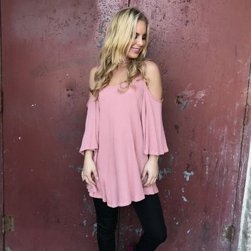 Gratitude Open Shoulder Tunic Blouse In Pink