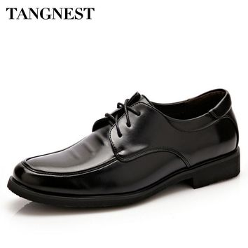 Tangnest 2017 Men Shoes Casual PU Leather Shoes Men Business Shoe Solid Lace Up Man Shoe Slip On Dressing Flats for Male XMR2107