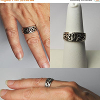 ON SALE Vintage Peter Stone 925 Silver Ichtyhs Ring, PSCL, Openwork, Christian Fish Design, Religious, Size 7, Lovely! #B158
