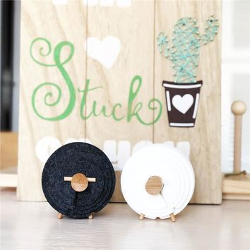 Creative Beech Felt Sheep Coaster Cup Mats Pads Heat-insulated Non-Slip White Gray Coasters Cute Chic Home Decoration 13PCS