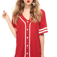 Boss Button Up Jersey Graphic Top