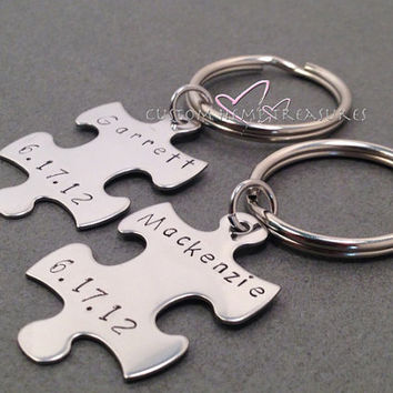 Couples Keychains, Stamped Keychains, Names Keychains, Dates, Valentines Gift, Valentines Day
