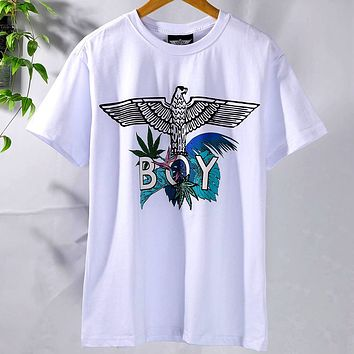 BOY LONDON 2019 new letter printing men and women models loose round neck half sleeve T-shirt white