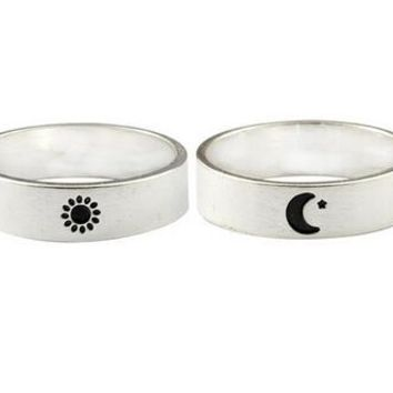 Fashion Punk Stainless Steel Moon Star Sun Finger Ring For Women Men Couple Lover Biker Promise Supernatural Muslim Jewelry Gift