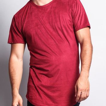 Perforated Faux Suede Long Length Curved Hem T-Shirt TS670 - T8D